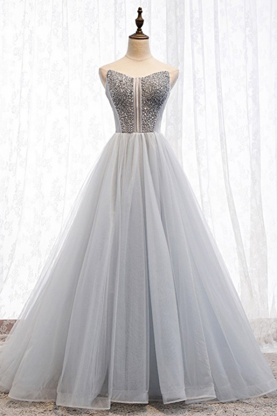 Strapless Silver Sequins Ballgown Tulle Prom Dress Grey