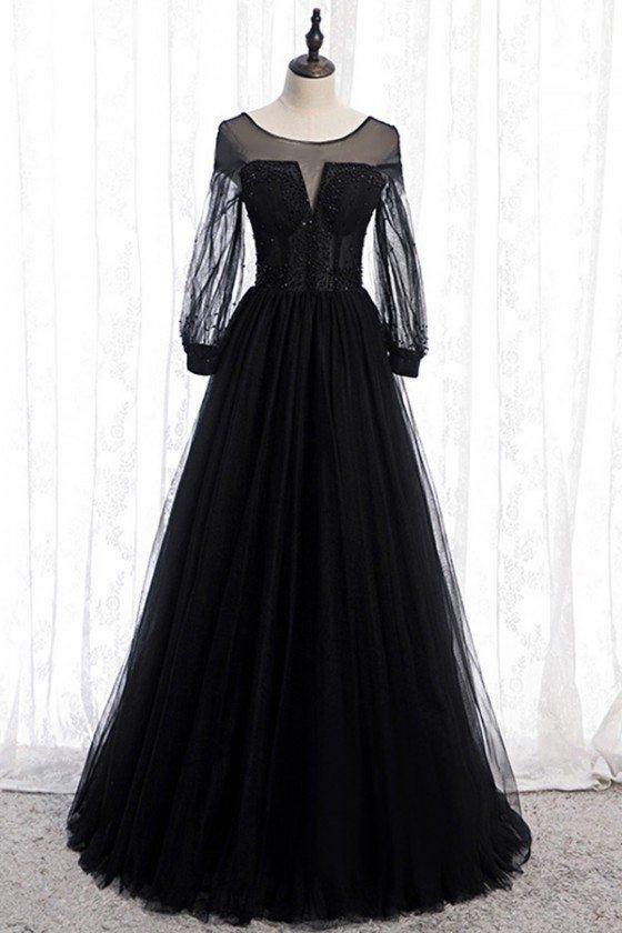 Black Tulle Formal Aline Evening Prom Dress Long Sleeves