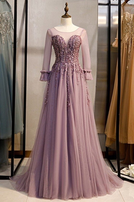 Beaded Appliques Lace Purple Tulle Prom Dress With Long Sleeves