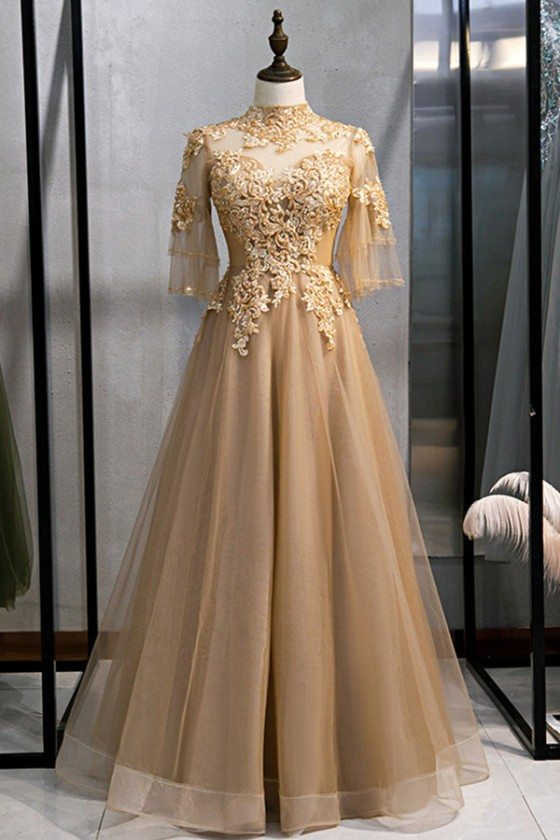 Formal Long Gold Champagne Evening Dress With Illusion Embroidery