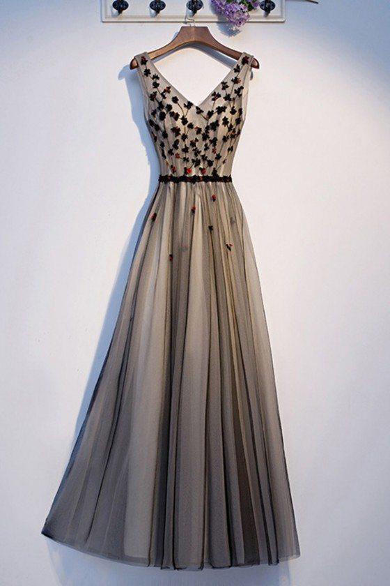 Long Tulle Aline Prom Dress Black Vneck With Flowers