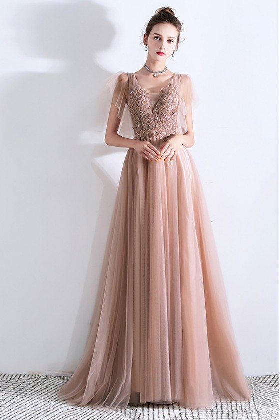 Flowy Champagne Long Tulle Prom Dress Modest With Puffy Sleeves