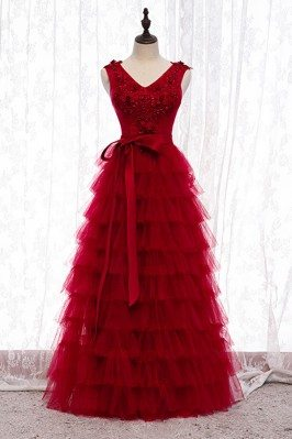 Burgundy Layered Long Tulle...