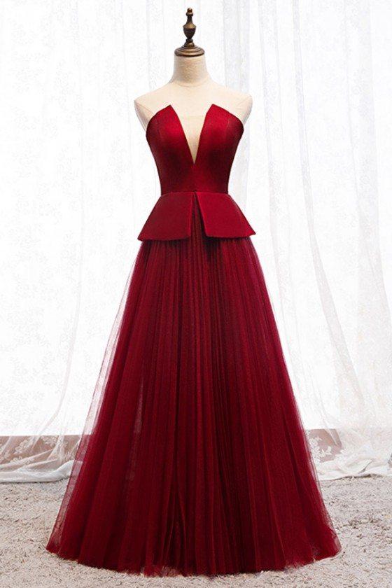Formal Chic Burgundy Tulle Evening Dress Strapless