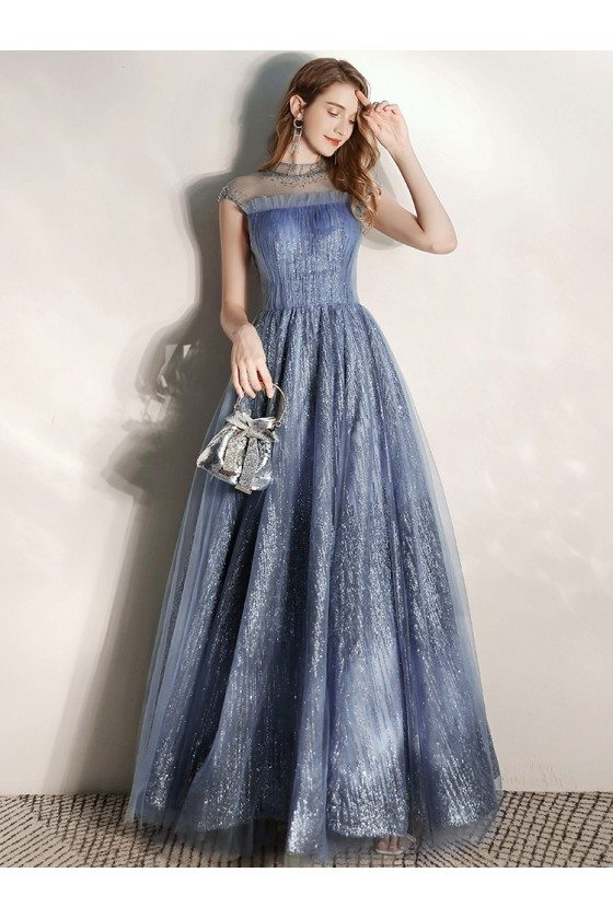 Mistery Blue Sparkly Long Prom Dress With Illusion High Neck