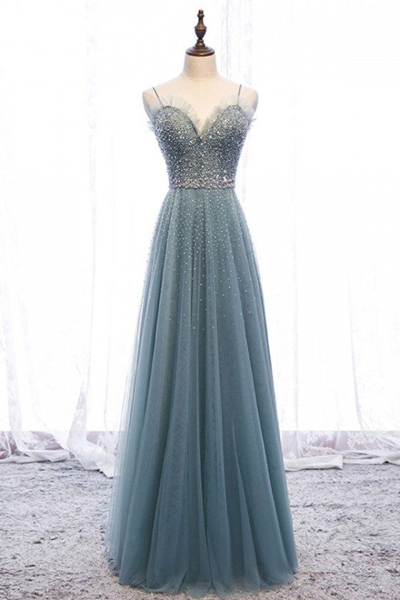 Bling Sequins Long Tulle Slim Prom Dress Dusty Green With Straps