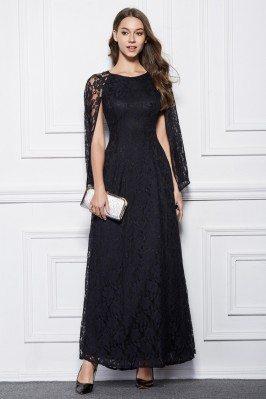 Long Lace Cape Style Party Dress