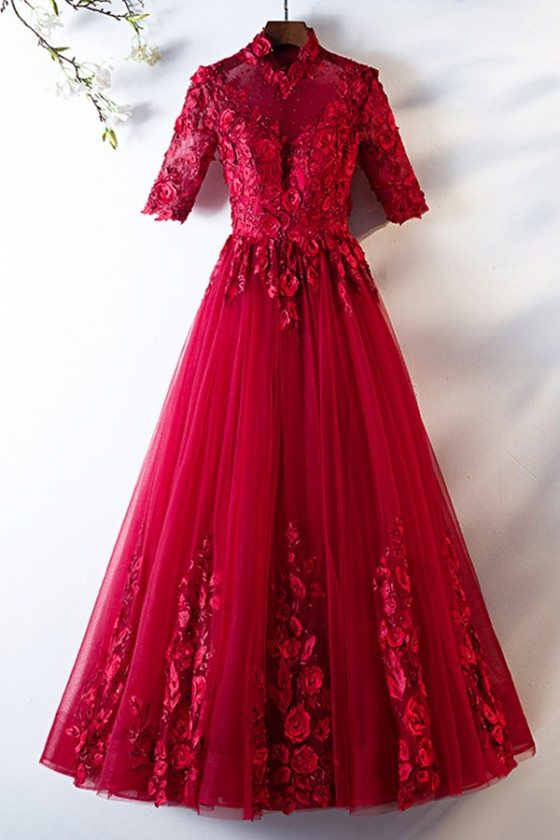 Formal Long Burgundy Tulle Party Dress With Half Sleeves