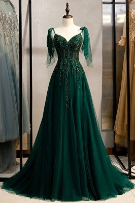 Flowy Long Tulle Dark Green...