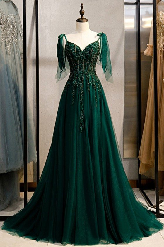 Flowy Long Tulle Dark Green Prom Dress With Train Beaded Appliques