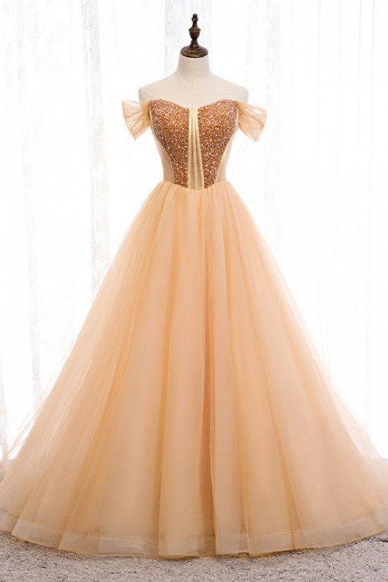 Gorgeous Off Shoulder Long Prom Dress Champagne Gold With Bling