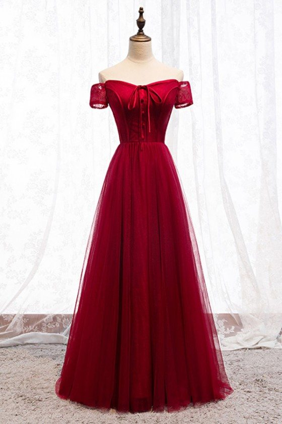 Burgundy Long Red Aline Party Dress With Off Shoulder