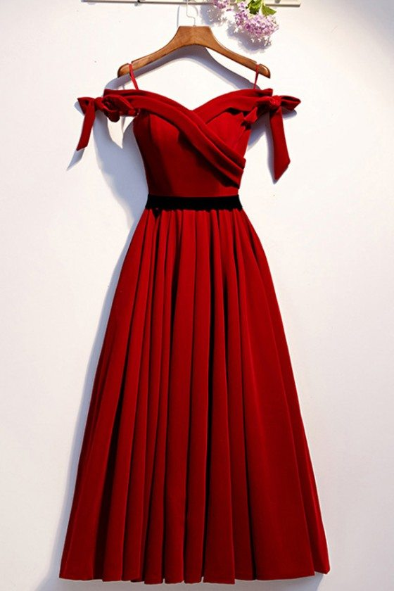 Bow Off Shoulder Burgundy Long Party Dress With Bows