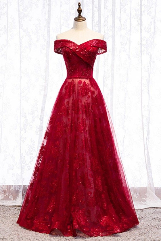Long Formal Burgundy Sequins Evening Dress With Off Shoulder