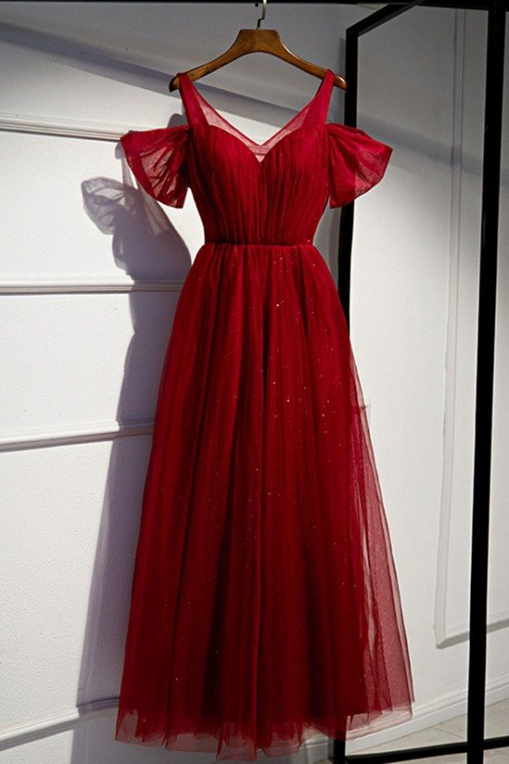 Long Tulle Party Dress Burgundy With Bubble Sleeves