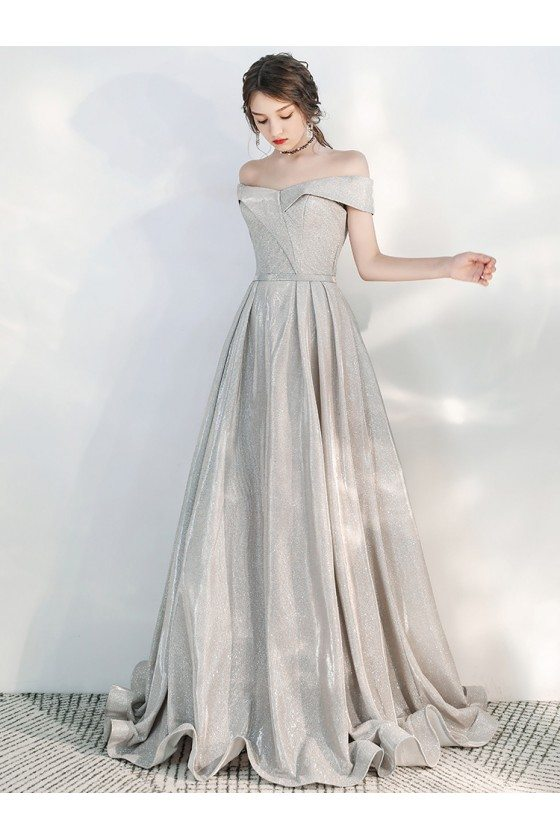 Sparkly Silver Off Shoulder Party Prom Dress For Formal