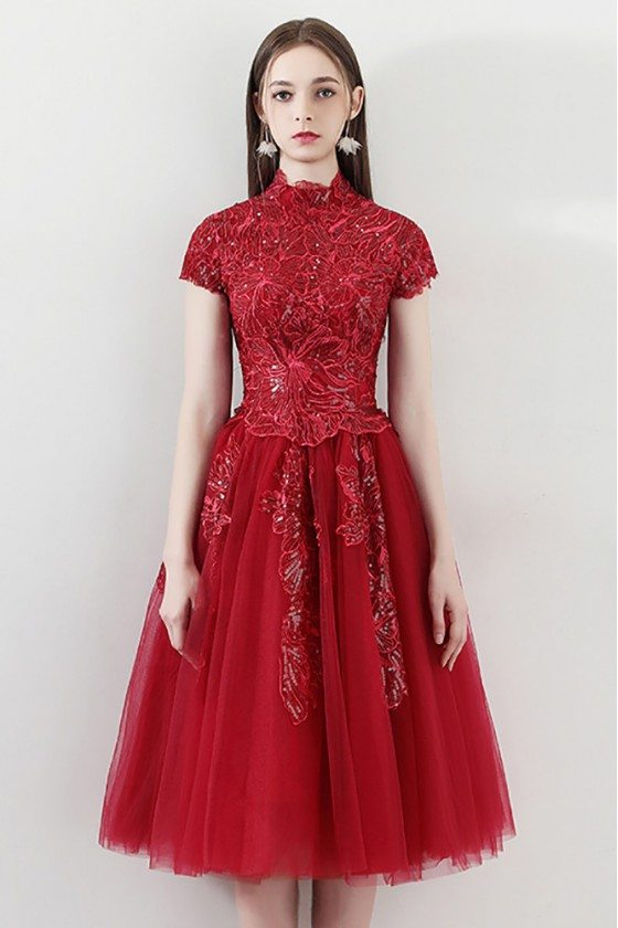 Burgundy Short Tulle Party Prom Dress With Embroidered Cap Sleeves