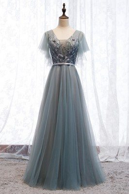 Dusty Grey Long Tulle Prom...