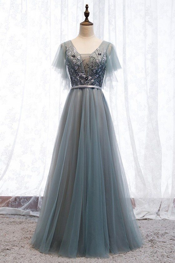 Dusty Grey Long Tulle Prom Dress With Tulle Sleeves