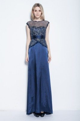 Lace Satin Long Party Dress