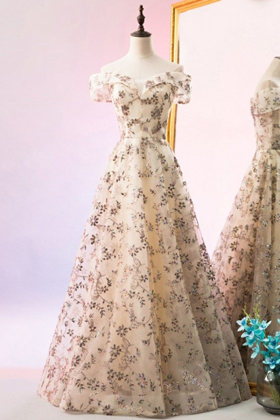 Long Champagne Aline Tulle Prom Dress With Off Shoulder