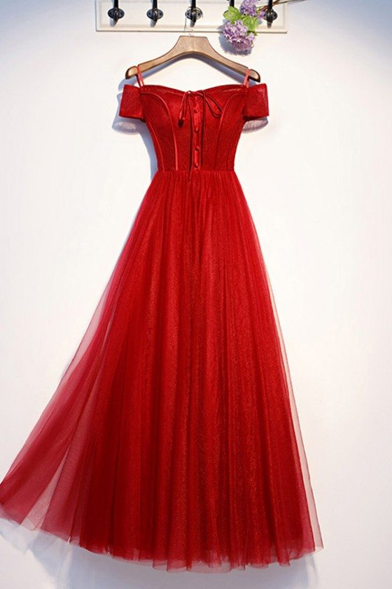 Formal Long Red Tulle Prom Dress With Off Shoulder Sleeves