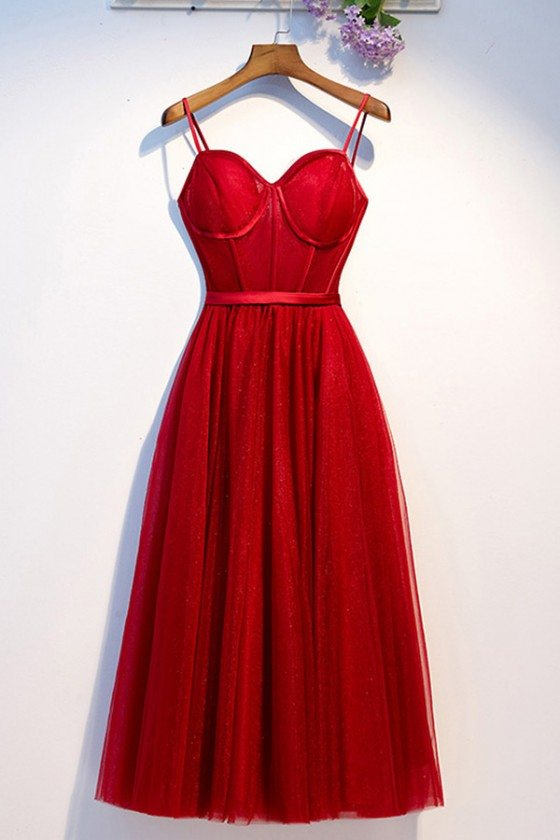 Burgundy Long Red Party Dress With Corset Top Straps