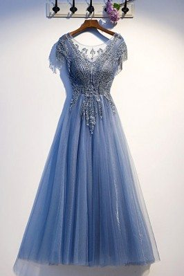 Luxe Blue Tulle Long Prom...