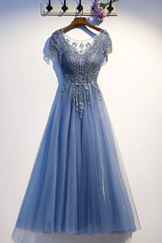 Luxe Blue Tulle Long Prom Dress With Beaded Top