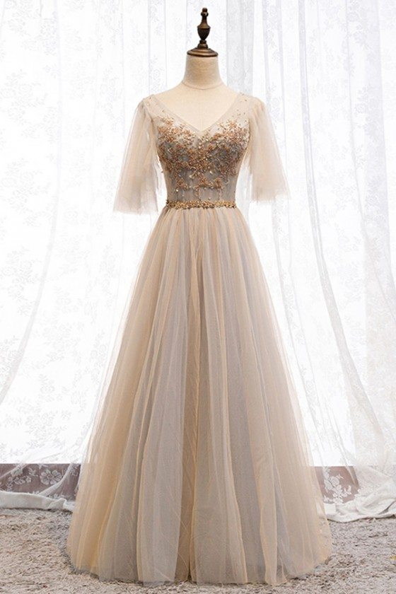 Beaded Vneck Champagne Tulle Long Prom Dress With Sleeves
