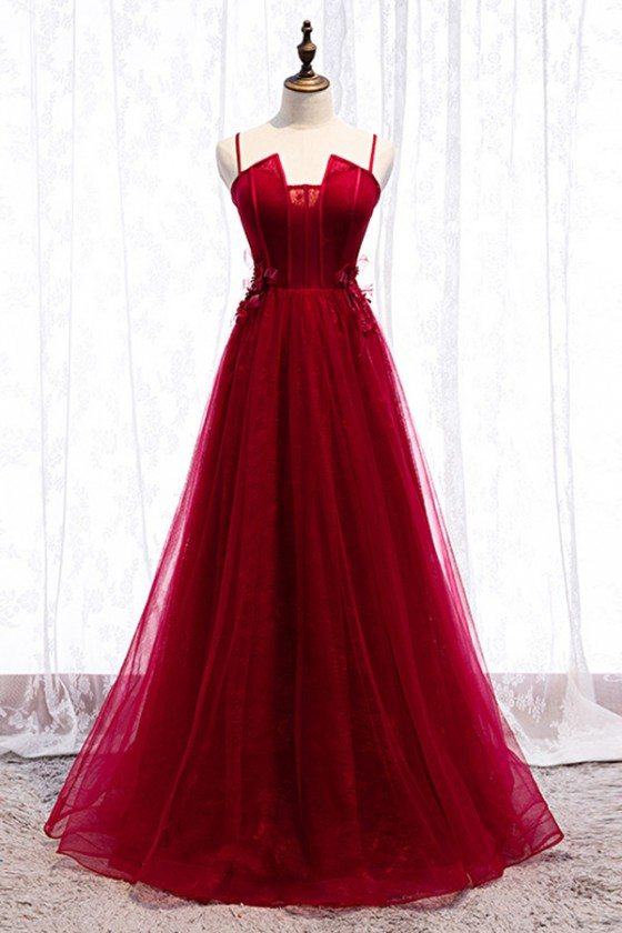 Burgundy Long Tulle Flowy Prom Dress With Spaghetti Straps
