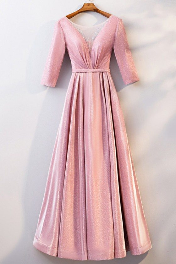 Illusion Vneck Long Pink Party Dress With Metallic Fabric