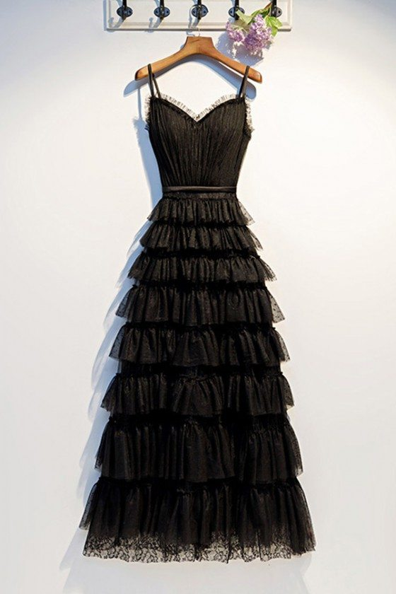 Long Black Sweetheart Aline Party Dress With Layers Straps