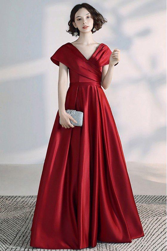 Elegant Burgundy Pleated Satin Vneck Formal Evening Dress With Cap Sleeves