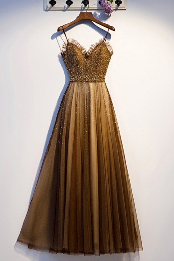 Brown Tulle Beaded Long Prom Dress Aline With Straps