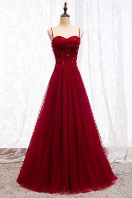 Aline Long Tulle Burgundy...