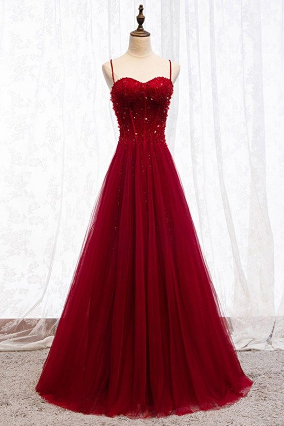 Aline Long Tulle Burgundy Evening Dress With Spaghetti Straps