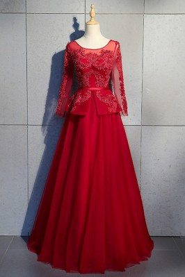 Ballgown Burgundy Beaded...