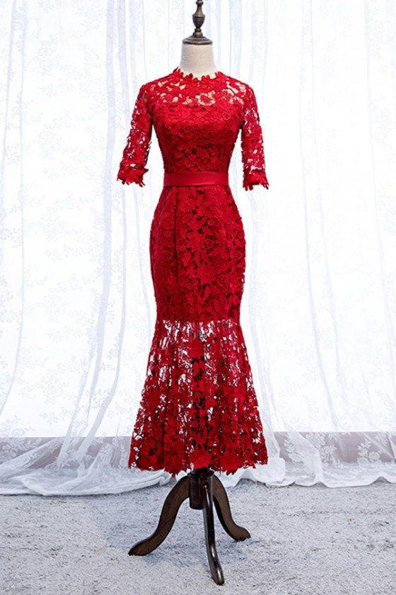 Gorgeous Red Lace Mermaid Tea Length Party Dress With Sleeves