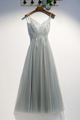 Grey Long Tulle Party Prom...