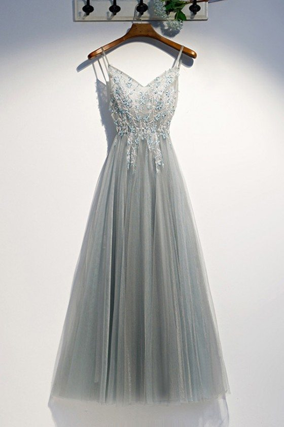 Grey Long Tulle Party Prom Dress With Sequins Beading