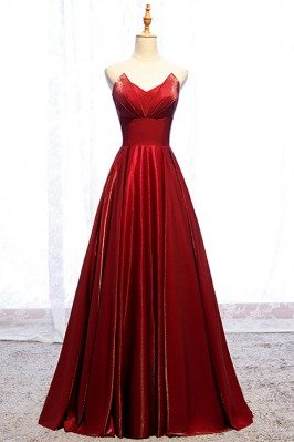 Burgundy Long Red Pleated...