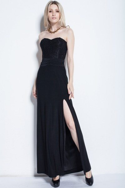 Strapless Sequin Slit Long Dress