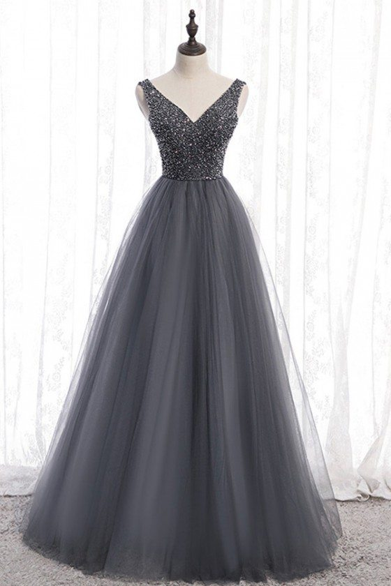 Formal Long Grey Sparkly Prom Dress Tulle With Vneck