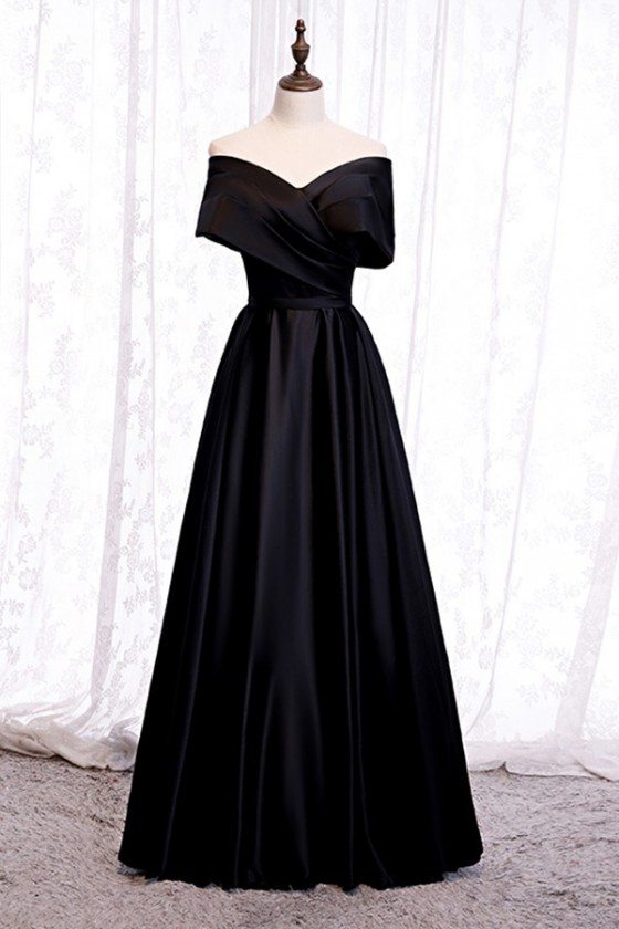 Simple Formal Long Black Evening Dress With Pleated Off Shoulder
