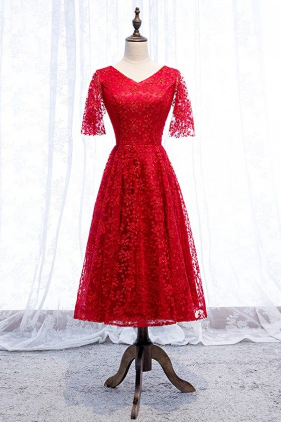 Pretty Red Lace Vneck Party Dress Tea Length With Sleeves