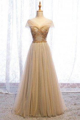 Elegant Champagne Gold Long...