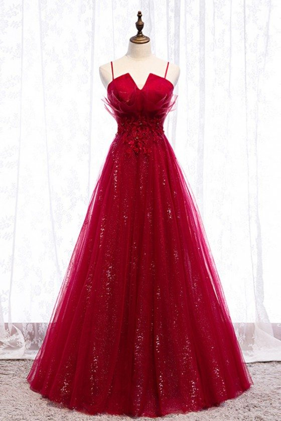Flowy Long Tulle Sequins Burgundy Prom Dress With Straps