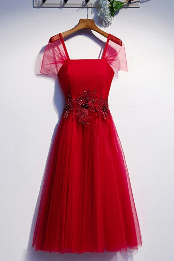 Burgundy Tea Length Tulle Special Occasion Dress With Tulle Sleeves