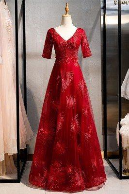 Burgundy Long Red Formal...